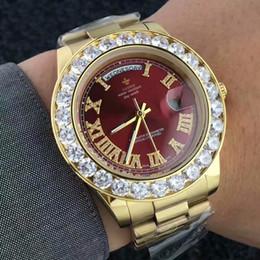 2019 big man watches Большой Бриллиант Дизайнерские Золотые Часы Мужчины из Нержавеющей Стали день-дата мужские Наручные Часы Президент Топ Мужской Часы Для relogio masculino дешево big man watches
