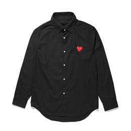 camisa masculina vermelha de xadrez preto Desconto Camisas de Designer Mens COMMES PLAY Japonesa Amor Camisas DES Garcons OFF Homens Mulheres Preto Vermelho Xadrez Coração Algodão Branco Vetements CDG Roupas