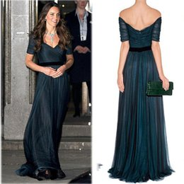 Tintas personalizadas on-line-Kate Middleton Celebridade Vestidos de Noite Fora do Ombro Tinta Azul Tule Até O Chão Vestidos de Festa À Noite Vestidos de Tamanho Personalizado Vestidos de Baile