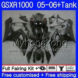kits corpo k5 Desconto Kit + Tanque Para SUZUKI GSXR-1000 1000CC preto brilhante GSXR 1000 05 06 Corpo 300HM.26 GSX-R1000 1000 CC GSX R1000 K5 GSXR1000 2005 2006 Carenagem