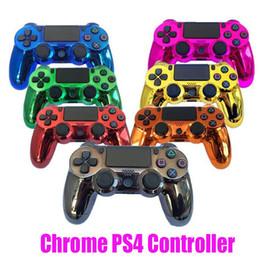 Juego de vibración online-Mando inalámbrico Chrome PS4 para PS4 Vibración Joystick Gamepad del regulador del juego para Sony Playstation 4 Choque controlador con Box