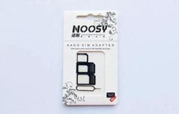 Canada 4 en 1 Noosy Nano Micro Adaptateur Eject Pin Pour Iphone 5 Pour Iphone 4 4S Avec Sim Carte Retail Box Haute Qualité cheap nano sim card eject Offre