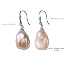 BarrocoSolo aretes de perlas barrocas genuinas, aretes de moda joyería fina 13-18mm aretes de perlas irregulares para mujeres regalos EA desde fabricantes