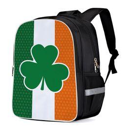 2019 bandierine irlandesi Day di San Patrizio Bandiera irlandese Zaini multiuso Zaino porta computer Borse per libri scolastici Zaini casual Borse sportive Borse hobo bandierine irlandesi economici