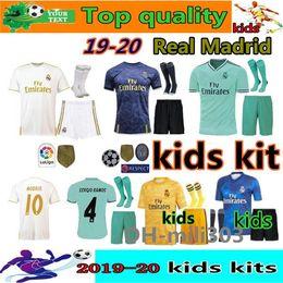 Kit de portero jerseys online-Kit de niños del Real Madrid HAZARD Soccer Jerseys 2019 Camisetas de fútbol 19/20 Inicio Visitante 3ra 4a Boy Boy Juvenil Modric 2020 SERGIO RAMOS BALE Camisetas de fútbol