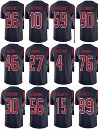 bc6cb56da TEXAN Houston  4 Deshaun Watson  99 JJ Watt  90 Jadeveon Clowney  10 DeAndre  Hopkins  26 Men Women Youth Color Rush Elite Football Jerseys