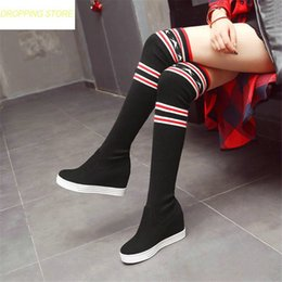 181fce73340e Elastic Thigh High Shoes Women Faux Suede Wedges Slip On Over The Knee  Boots High Heel Greepers Punk Sneakers Pumps