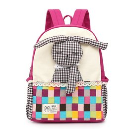 cartoon blue bunnies Coupons - Cute Rabbit Canvas School Bag for Todder Kids Colorful Grid Pink Backpack Kindergarten Baby Girl Kwaii Bunny Cartoon Rucksacks
