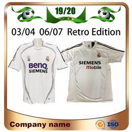 Curto futebol real madrid on-line-03/04 Retro Edition Real Madrid camisas de futebol 06/07 # 7 Raul # 9 Ronaldo # 23 Beckham manga curta camisa de futebol uniformes