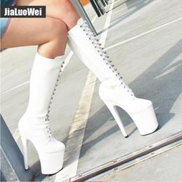 Argentina Botas hasta la rodilla para mujer Zapatos de moda sexy con cordones Botas altas de plataforma Estilete con cremallera Botas de tacón delgadas de gran tamaño para Pole dance hombre Suministro