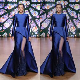 38119eb245 Elegantes vestidos de noche en azul real Tony Ward 2019 Manga larga Lado  sexy Dividir Satén Vestido de fiesta Joya Cuello Ver a través Ropa formal  del ...