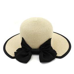 señoras viseras de ala ancha Rebajas Las mujeres del verano cubo de protección solar Boonie sombreros del sol con lindo Bowknot ala ancha Ladies Travel Beach Cap femenino Floppy Visor sombrero