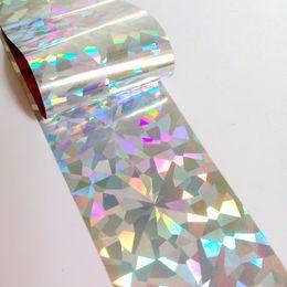 punta bianca per avvolgere il chiodo Sconti 100cm Laser Transfer Foil Adesivo per unghie in vetro rotto argento olografico Lady Nail Foil Adesivo per unghie fai-da-te per unghie finte