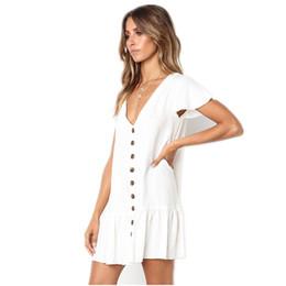Frauen beiläufige kleider weiße baumwolle online-Casual Weiß Grün Minikleid Frauen Rüschen Baumwolle Knöpfe Kurzarm Kleid V-Ausschnitt Solide Rot Lose Kleid Sommer