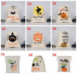 Impression de sacs de jute en Ligne-9styles Halloween Sac de jute Sacs enfants Cadeaux bonbons cordonnet Sacs citrouille de partie de mascarade sac à main crâne diable araignée sac de rangement FFA2944-1 Imprimer