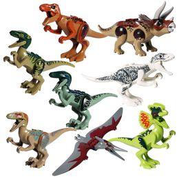 Bloco jurássico on-line-Venda quente Jurassic Dinosaur Building Block Toy Figura de ação Indoraptor Velociraptor Triceratop T-Rex World Dino Brick