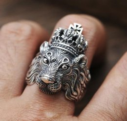 ouro chinês barato Desconto Personalidade coroa animal europeu dominador áspero masculino anel Eu tamanho 6 a 13