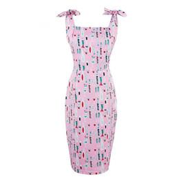 Vestido correa de espagueti rosa caliente online-2019 Hot Summer Women Bodycon Pink Spaghetti Correa Vestido de cuello cuadrado Imprimir Sexy vestido sin mangas de la envoltura femenina vestidos ajustados