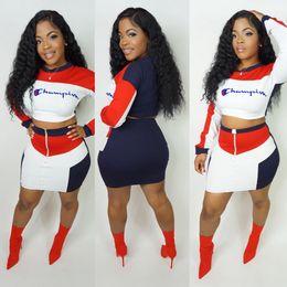 tuta sportiva lunga casual Sconti Color Match Champions Emboidery Letters Tuta da donna Outfit manica lunga Pullover Crop Top + Short Dress Skirt 2pcs / Set Sportswear B11