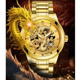 esculturas chinesas do dragão Desconto Moda chinesa Life Style Waterproof Escultura Mens Gold Dragon Quartz relógio de luxo homens de aço relógio de pulso erkek kol saati #D