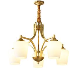 Canada Style européen nouvelle cuivre lustre lampes villa salon chambre 5 têtes lustres pendentif lampe américaine mansion restaurant lumières Offre