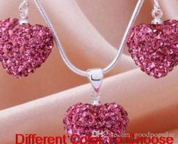 Silber-perlen online-Freies verschiffen weiß handgemachte mischfarben perlen ton herz versilbert kristall kristall halskette anhänger drop ohrring