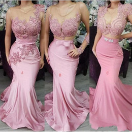 Digitare il club online-2019 tre tipi sirena Abiti da sera Sheer Neck Lace Appliqes Beaded Sashes Backless Sweep Train Formale Party Abito Celebrity Prom Gowns
