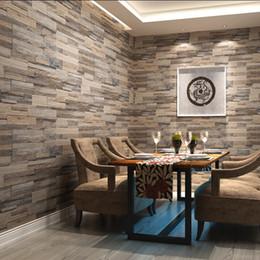 vintage tapeten designs Rabatt 3D-Tapete Holz Wand Ziegelsteinmuster PVC-Stein Design Tapeten Vintage-Stil papel de parede für Heimtextilien bedeckt