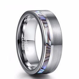 Deutschland Business Classic Herren 8mm Abalone Shell Wolframcarbid Ring Exquisite Herren Ehering Größe 6 - 13 supplier tungsten carbide rings for men Versorgung