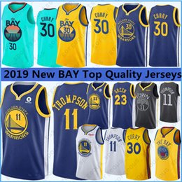2019 nuevo estilo de camiseta de baloncesto 2019 nuevo estilo de Stephen Curry 30 jerseys del baloncesto Draymond 23 Verde Klay Thompson 11 Andre 9 lguodala de calidad superior cosido jerseys nuevo estilo de camiseta de baloncesto baratos