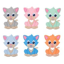 2019 brinquedo do gato do bebê Novo Silicone Teether Gato Colorido Bebê Brinquedo Dentição Food Grade Silicone Kitty Segure Chew Beads Infantil Chuveiro Presentes 7 Cores brinquedo do gato do bebê barato