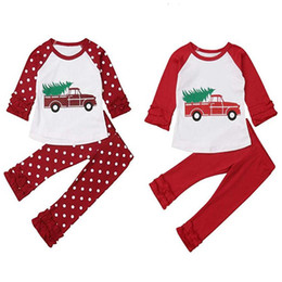 Camisa longa dos carros on-line-Roupa de Natal dos miúdos Set Lace mangas compridas Dot Car Impresso dos desenhos animados Top + Dot Alargamento Pants Suit roupas Outfits Xmas Girl T-shirt novo GGA2696