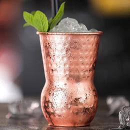 bicchieri di vino in rame Sconti 380ml argento / oro cocktail dell'acciaio inossidabile di vetro Moscow Mule tazza di rame martello Point Bar Wine Glasses MMA1979-3