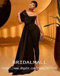 vestido largo negro sudáfrica Rebajas Sudáfrica Tallas grandes Negro Mujer Monos Sin tirantes Vestidos de baile con cinta Aplique Árabe Dubai Pantalones largos formales trajes Party Wear