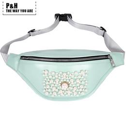 gran paquete Rebajas Paquetes de cintura de gran calidad Pathap Full Pearl Mosaic Fanny Pack de cuero para las mujeres tipo almohada bolso de la cintura Fannie paquetes femeninos
