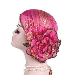 gorras de mujeres musulmanas Rebajas 2018 nuevo brillo floral musulmán Hijab turbante árabe cabeza bufanda moda flor mujer quimio gorra algodón bandana