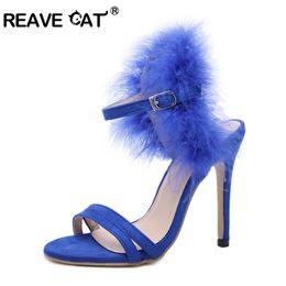 vendita all ingrosso scarpe donna tacchi alti signore sandali moda sexy night  club sexy flock pelliccia sintetica tacco sottile fibbia freddo femminile  ... 9947822d25b