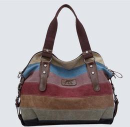 Toile casual fashion college une épaule diagonale grande capacité sac de couleur contrastante mosaïque paquet ? partir de fabricateur