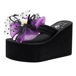 2019 chaussures à perles YOUYEDIAN Femmes Chaussons Chaussures 2019 Dames Wedge Flop Flops Filles Perle Noeud papillon Wedges Flip Flops Pantoufles Chaussures De Plage # G3 chaussures à perles pas cher
