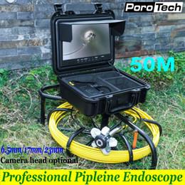 """Caméra d'inspection de tuyau d'évacuation en Ligne-WP9600 6.5mm / 17mm / 23mm endoscope de canalisation industriel de câble de caméra vidéo sous-marine de 50m 9 """"système d'inspection de tuyau de drain d'égout d'affichage à cristaux liquides"""