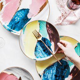 Pintando platos de cerámica online-LEKOCH Platos de Cerámica Acuarela Nube 8/10 pulgadas Platos de Cena Porcelana Torta Snack Plato Servicio de Postres Set