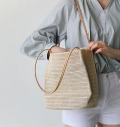 Um tecido on-line-Saco de palha de um ombro de tecido casual verão novo saco de balde selvagem