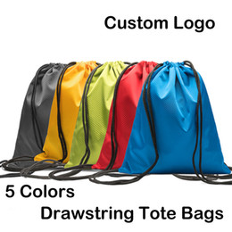 plain waterproof swim bags Coupons - Waterproof 600D Oxford Cloth Drawstring Backpack Sports Gym Dance Bags Polyester Shopping Storage Folding Bag Custom Logo Free DHL M36F