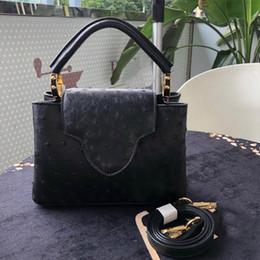 Cuero de avestruz genuino online-Bolso de lujo del diseñador monedero patrón de avestruz de alta calidad bolsos de mujer L bolso de cuero genuino mujer L bolso de monedero