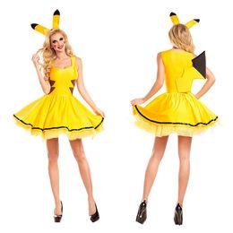 animais sexy Desconto Trajes de Halloween para As Mulheres Sexy Plus Size Saia Vestido Amarelo Pikachu Traje Cosplay Festa de Natal Fancy Dress Animal Adulto Carnaval