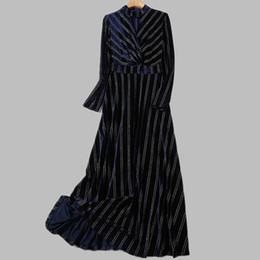 Vestiti da partito delle donne di lusso Nuovo arrivo 2019 Primavera Moda  oro velluto Elegante blu femminile abito lungo cd9f728e8aa