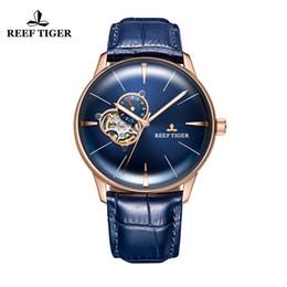 Relógios impermeável on-line-New Reef Tigre / RT Designer Casual Assista Men Sport Couro Mecânico à prova d 'água Homens Diver Relógio de Ouro Automático RGA8239