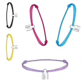 lock bracelets Promo Codes - Brand name Women and man Handmade Rope with silver lock Bracelet Charm Titanium Stainless Steel many colors rope jewelry free shipping