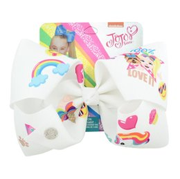Jojo Siwa Hair Bows Clips para el cabello de las niñas 8 pulgadas Arco grande para niños Dorado Amoroso Unicorn2019 JOJO Arco Horquilla desde fabricantes