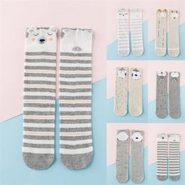 Горячие девушки высокие носки колена онлайн-Adorable Baby Socks Animal Print Knee High Cute Newborn Baby Socks Soft Cotton Bow Striped Long Girls Sock Hot Sale Kids Sock